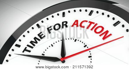 Clock with text - Time for action three-dimensional rendering 3D illustration