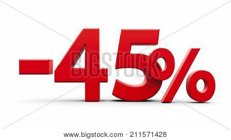 Red minus forty five percent sign isolated on white background three-dimensional rendering 3D illustration