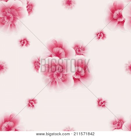 Hand drawn gouache folk flowers and leaves. Vintage old style. A floral pattern with gouache one stroke painting. A seamless pattern with pink African violet viola flowers on the white background