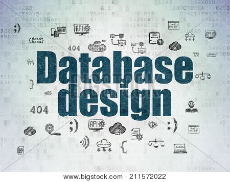 Database concept: Painted blue text Database Design on Digital Data Paper background with  Hand Drawn Programming Icons