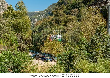 Jeita grotto cableway.ropeways near big grotto in Lebanon.excursion in the mountains. beautiful nature. wonder of the world.zoo.