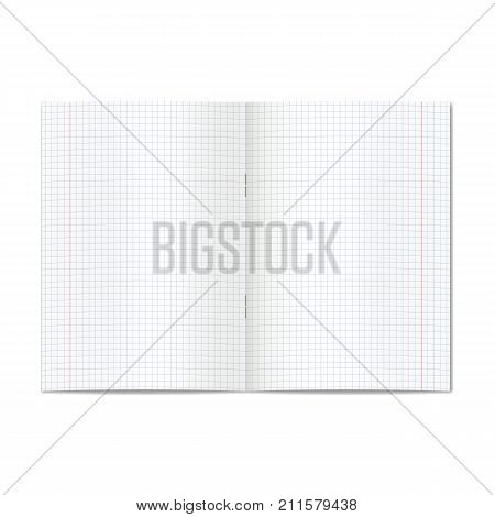 Vector opened realistic graph or quad ruled school copybook with red margins. Blank lined pages of notebook or exercise book with staples mockup or template