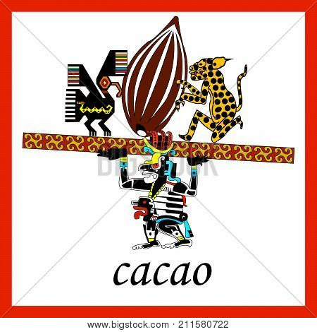 Cacao. Ethnic patterns of Native Americans: the Aztec, Inca, Maya, Alaska Indians (Mexico, Ecuador, Peru). Drawing in the Mexican style. Jaguar, raven and priest. Vector