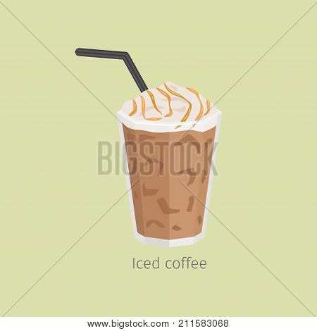 Glass of iced coffee with straw flat vector. Chilled invigorating drink with caffeine. Cold coffee with ice and creamy foam poured sweet syrup illustration for refreshing concept and cafe menus design
