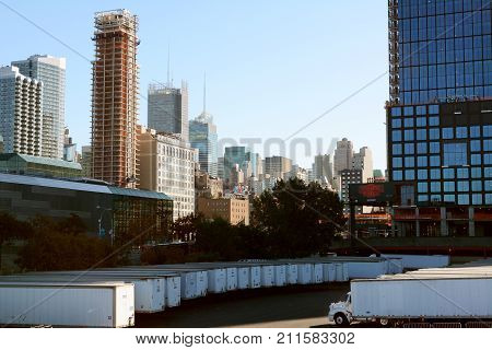 Cityscape Of Manhattan With Tower Blocks And Javits Convention Center