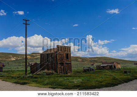 Ruined Buildings in the Californian Ghost Town of Bodie. Bodie is one of the best preserved Ghost Towns in America and was founded during the Californian Gold Rush. It was inhabited until the 1970s.