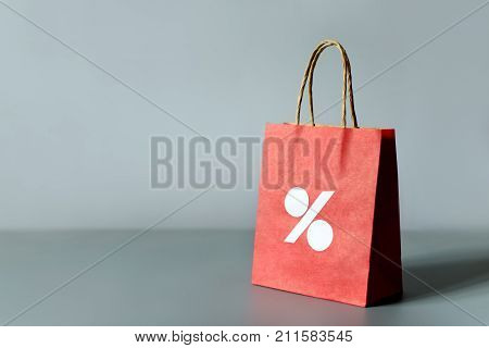 Red Shoppings Bag From Recycle Paper Isolated On White Background. Black Friday Or Christmas Sales.
