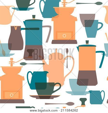 Coffee maker, pot, grinder, cezve, pitcher, cup, spoon, saucer. Dishes for coffee. Flat color transparent silhouettes. Seamless background. Vector illustration.