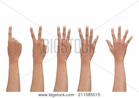 one to five count finger isolated on white background