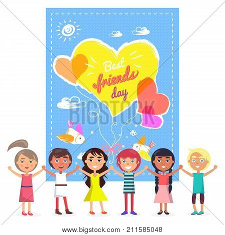 Best friends day banner with colorful hearts and birds. Friendly international children who hold each other hands and raise them vector illustration.