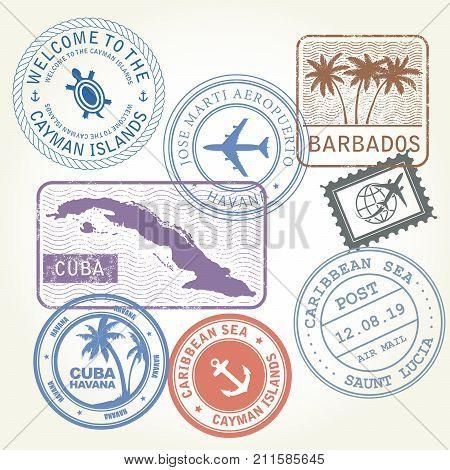 Travel stamps set Caribbean Sea theme - seals