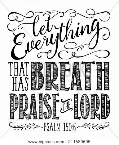 Christian Vector Biblical Calligraphy style Typography design with elegant swashes & hand-drawn textures & accents from Psalms,