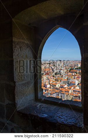 Lisboa view from a window in Sao Jorge Castle Lisboa Portugal
