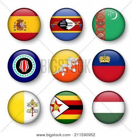 Set Of World Flags Round Badges ( Spain . Swaziland . Turkmenistan . Bougainville . Bhutan . Liechte
