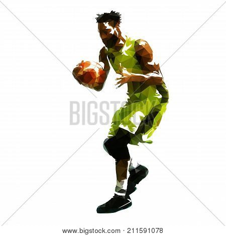 Basketball player with ball abstract geometric vector illustration