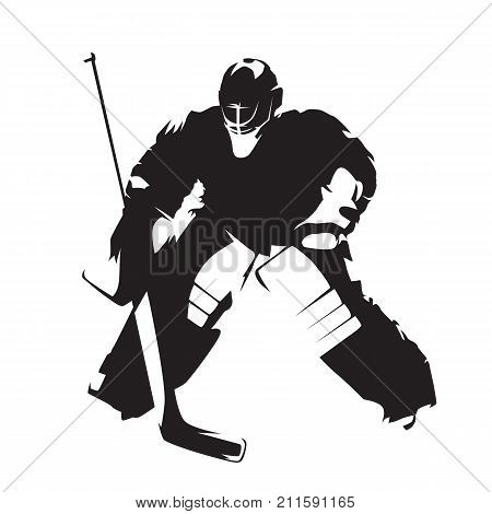 Ice hockey goalie standing, isolated abstract vector silhouette. Winter team sport, front view