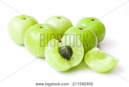 Fresh indian gooseberry fruit on white background with high vitamin C Herb and medical for health concept
