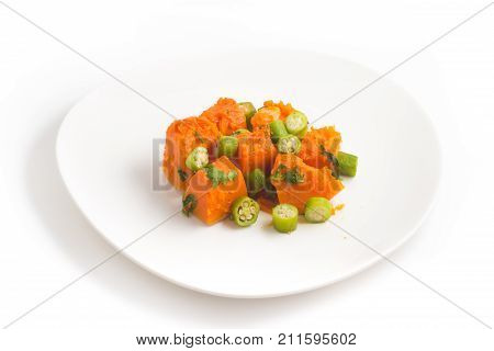 Cooked Pumpking Diced And Okra