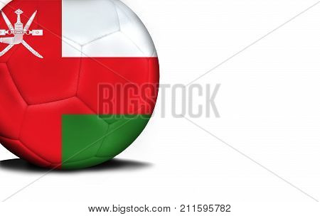 The flag of Oman was represented on the ball, the ball is isolated on a white background with space for your text.