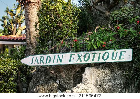 Sign for Botanical Garden in Les Revories ward of Monaco. The garden was opened in 1933.