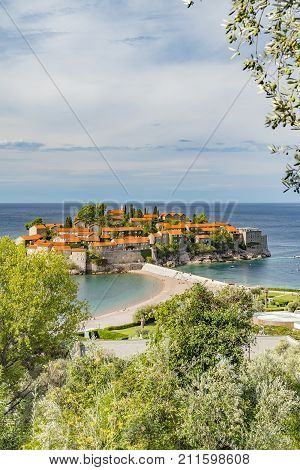 Sveti Stefan is a small islet holiday resort on the Adriatic coast of Montenegro Not far from Budva.