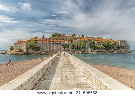 SVETI STEFAN MONTENEGRO - 29 SEPTEMBER 2017: Sveti Stefan is a small islet and 5-star hotel resort on the Adriatic coast of Montenegro Not far from Budva.