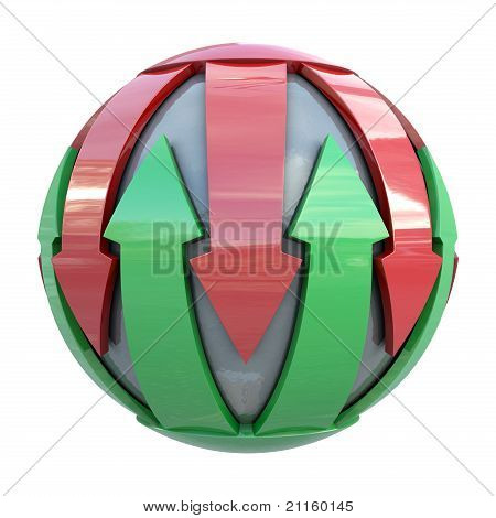 Red and green lines on gray sphere
