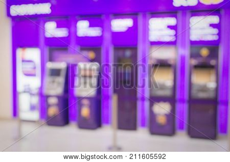 blurred image of ATM (Automated Teller Machine) banking machine at bank