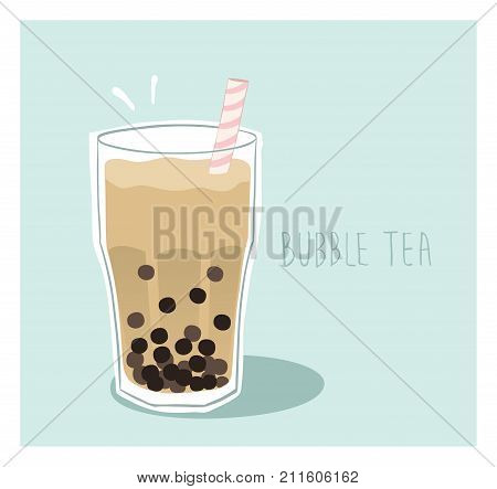 Milky boba drink - Milk bubble tea with tapioca balls in a glass with a straw