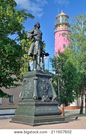 BALTIYSK, RUSSIA - 20 AUG 2017: monument to the Tsar of All the Russias and Emperor of Russia Peter the Great. Baltiysk, Kaliningrad oblast, Russia