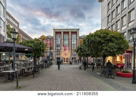 ESSEN GERMANY - October 30 2017: Christmas illumination is already glooming around the famous old Grillo theater at downtown.