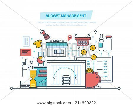 Budget management. Financial calculations, planning of finance. alculation of income and expenditure, optimization, preservation of budget, family and business budgets. Illustration thin line design.