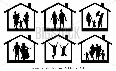 Family silhouette home. Couple man and woman with a child in the house. People jumping vector set icon.