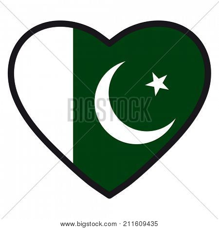 Flag of Pakistani in the shape of Heart with contrasting contour, symbol of love for his country, patriotism, icon for Independence Day.