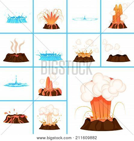Hot burning lava from volcano and clear blue water big and small splashes isolated cartoon vector illustrations set on white background.
