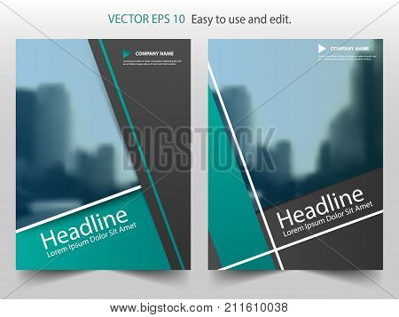 Green abstract annual report Brochure design template vector. Business Flyers infographic magazine poster.Abstract layout template Book Cover presentation portfolio.