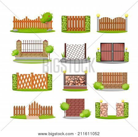 Set of various decorative wooden, metal and stone fences. Exterior, appearance, design of gates and surrounding area. Outdoor metal wooden fence architecture elements. Vector illustration isolated.