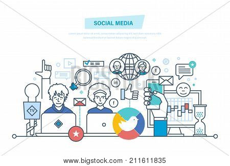 Social media concept. Media planning, digital marketing, advertising, promotion in social network, online business, financial analysis and research. Illustration thin line design of vector doodles.