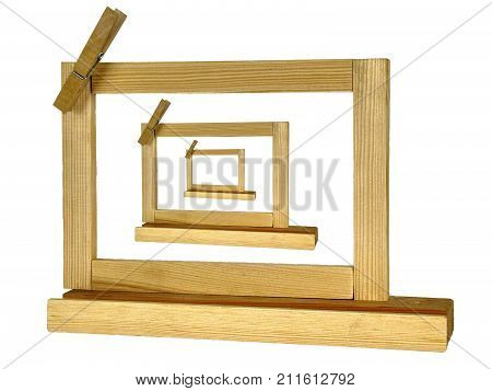 Design wooden picture frame or notice panel or memo board three in one cutout on white background and copyspace on the border poster