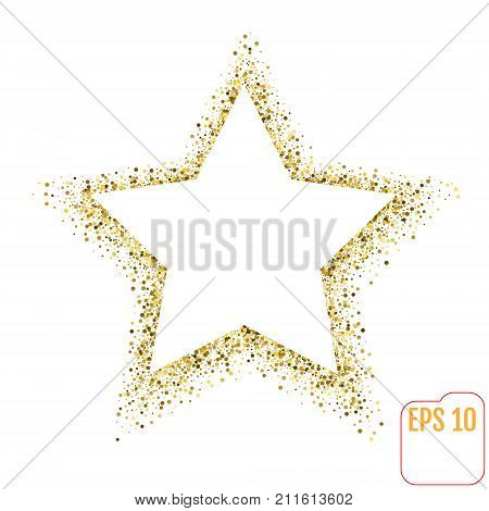 Golden Star Vector Banner On White Background. Gold Glitter Star