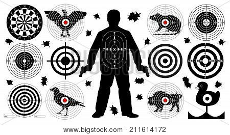 Target for shooting set man with arms shoot gun aim animals people man isolated. Sport Practice Training. Sight bullet holes. Dartboard archery. vector illustration.