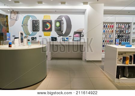 SAINT PETERSBURG, RUSSIA - CIRCA OCTOBER, 2017: electronics on display at iPort store in