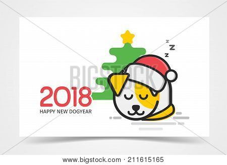 Happy little Puppy with Santa s hat on his had sleep at Christmas tree vector illustration. Holidays card 2018 line art style light background