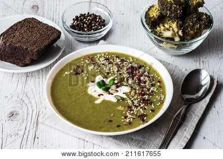 broccoli cream soup. healthy eating, dieting, vegetarian kitchen and cooking concept