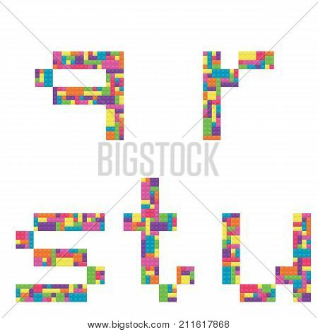 Q r s t u alphabet lowercase letters from children building block icon set vector graphic