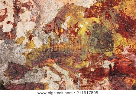 the decay of Europe - decadent grunge plaster of a painted wall with drawn European map metaphor of the old continent in decline