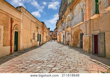 Matera, Basilicata, Italy: picturesque view of an ancient street in the old town