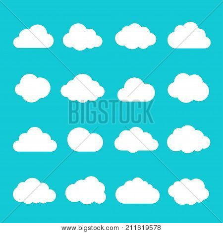 Sky cloud icon set. Meteorology and weather background, kid calm skylight decoration. Vector flat style cartoon illustration isolated on blue background