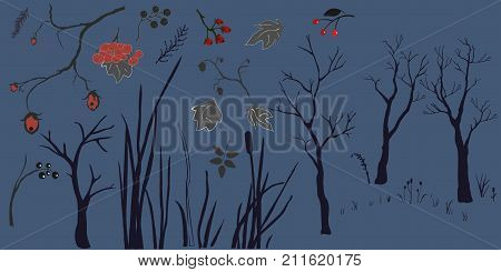 Forest Buliding Collection in black. Vector Illustration