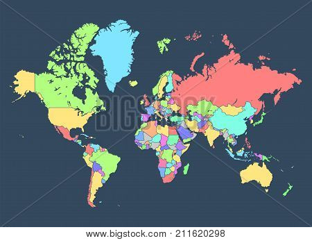 Political Map Of The World With Countries Separated By Colors On A Dark Background. Highly Detailed